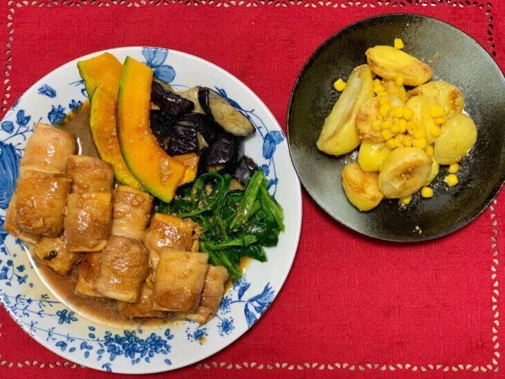 キットオイシックスフローズンの肉巻き豆腐・じゃがバターコーンの出来上がり