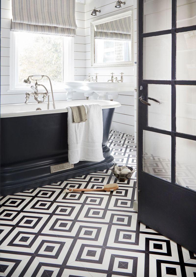 Siyah ve beyaz banyo tasarım fikirleri
