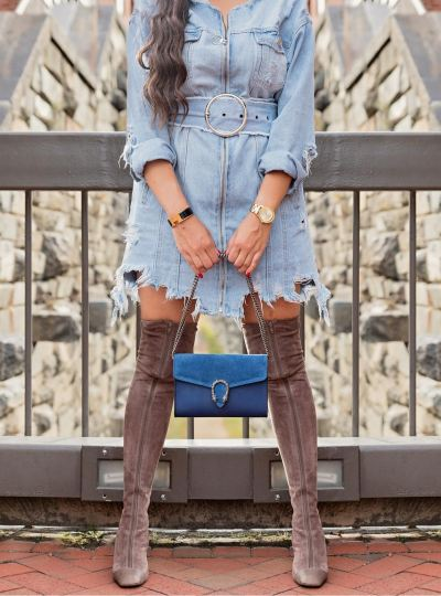 Denim and High-Knee Boots
