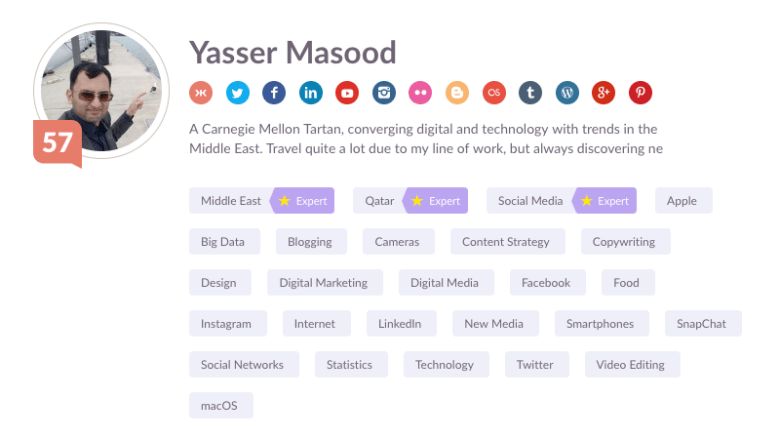 Yasser's current Klout score on May 24, 2018 with multiple social networks connected to calculate it. Klout score is 57