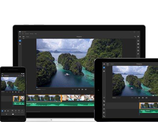 Adobe Premiere Rush CC running on iPhone, MacBook, and iPad