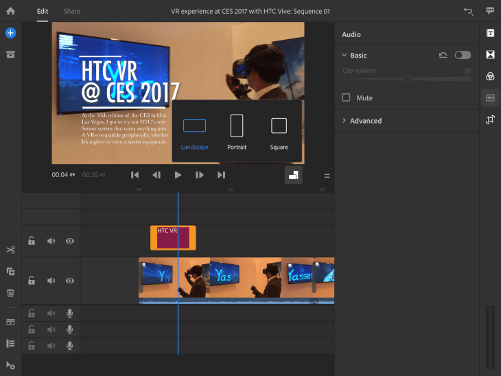 Adjusting video aspect ratio in Premiere Rush CC is easily done with just a quick-select option