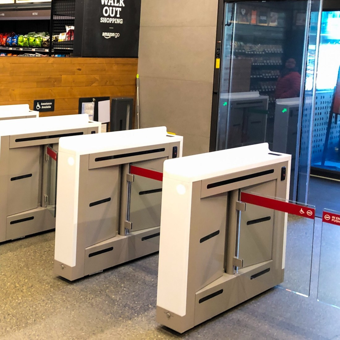 Electronic turnstiles that are entry and exit points for the Amazon Go store.