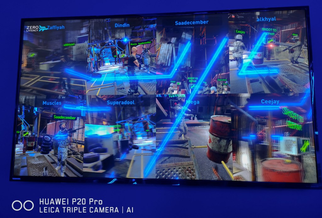 While you wait for your session, you can easily see current gameplay on the big screen showing first-person perspectives of players in the session
