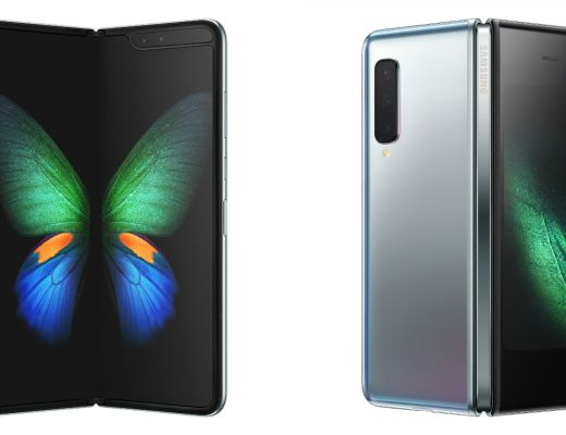 Front and back view of the Samsung Galaxy Fold when opened