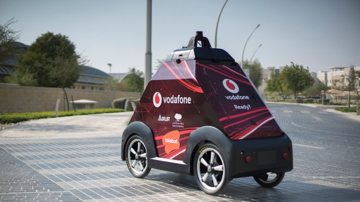 Self-driving vehicle in Qatar by Airlift systems with Talabat + Vodafone Qatar + Qatar Foundation