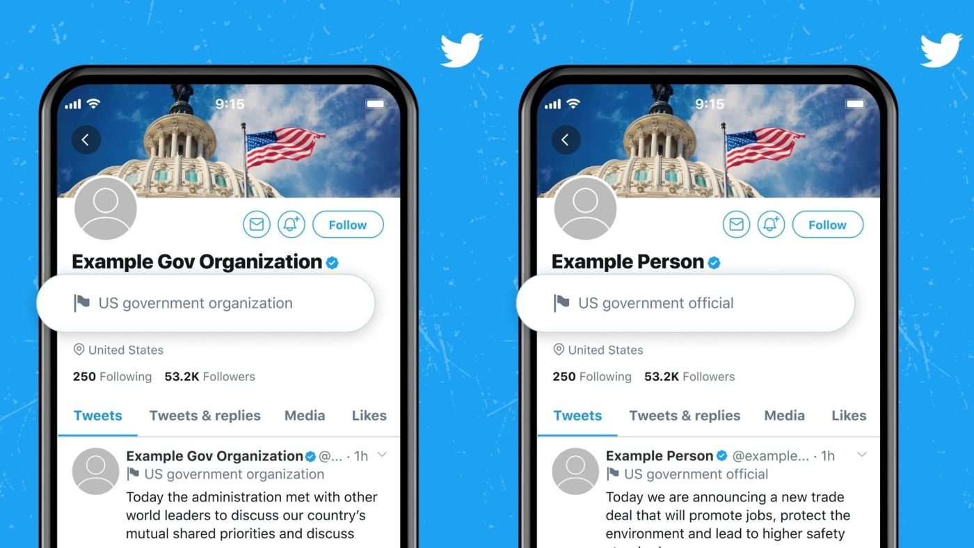 Twitter government account labels