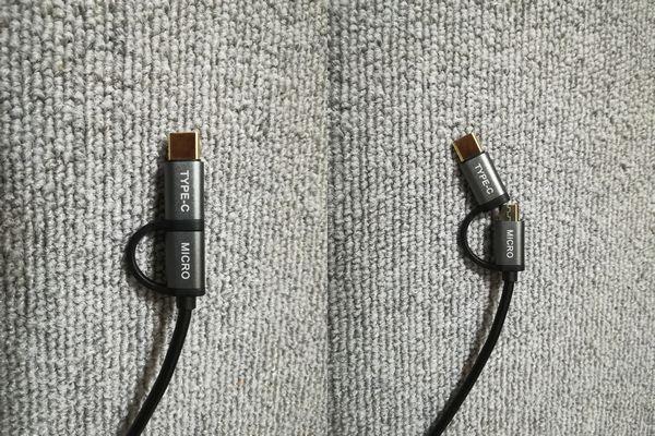 「CHOETECH」USB Type-C / Micro USB 交換ケーブル 変換部分