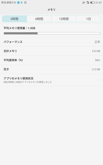 MediaPad M3 メモリ