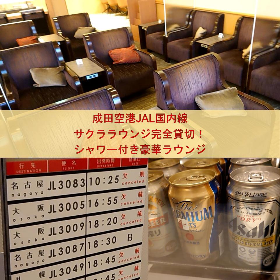 成田空港JAL国内線サクララウンジ完全貸切!シャワー付き豪華ラウンジ