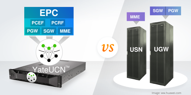 YateUCN running all the EPC functions in a small unit while convetional network equipment is a large, oversized unit that run one function at a time