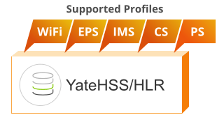 HSS/HLR profiles supported by YateHSS/HLR: WiFi, EPS, IMS, CS, PS