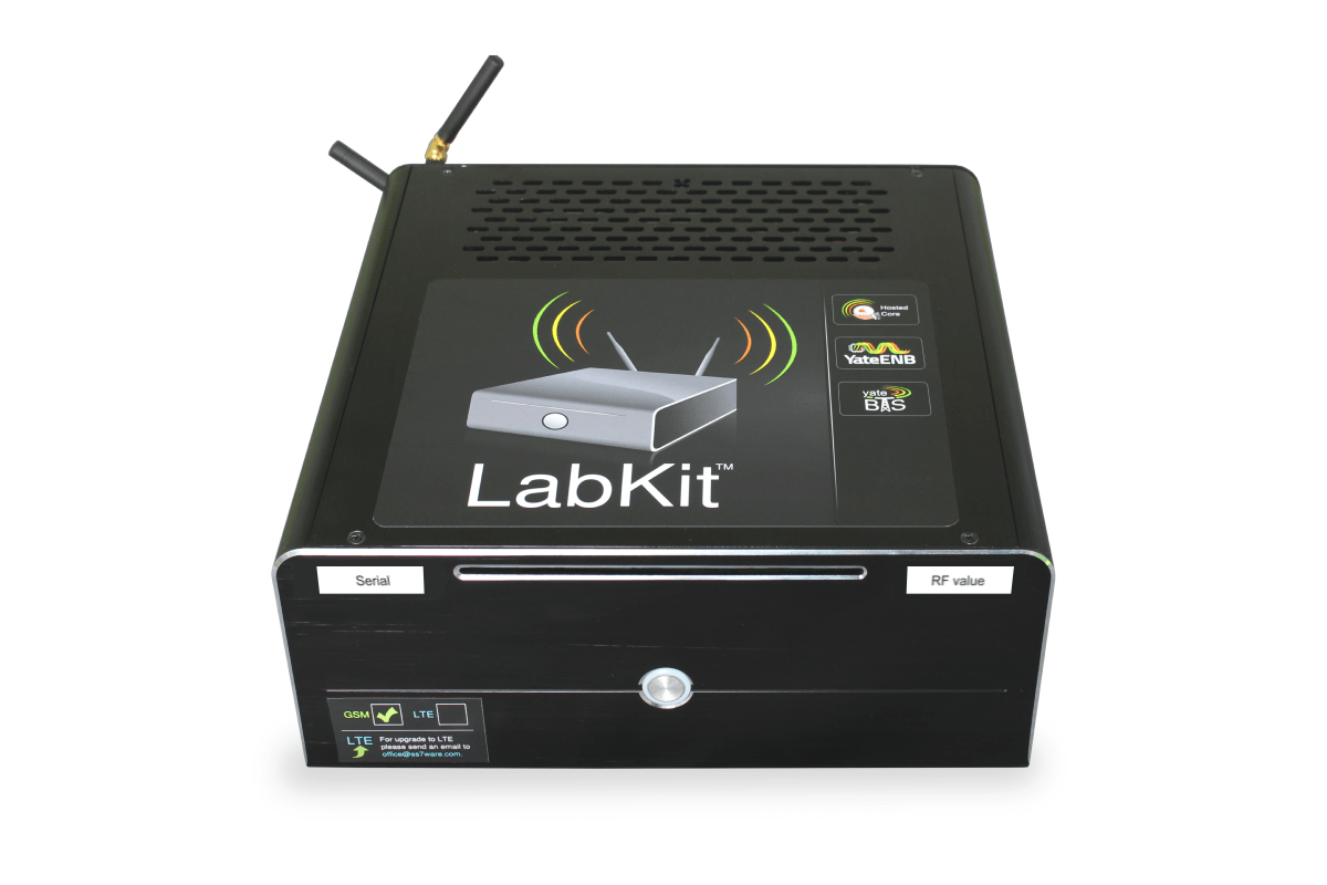 image with GSM LabKit unit, a small factor PC running YateBTS