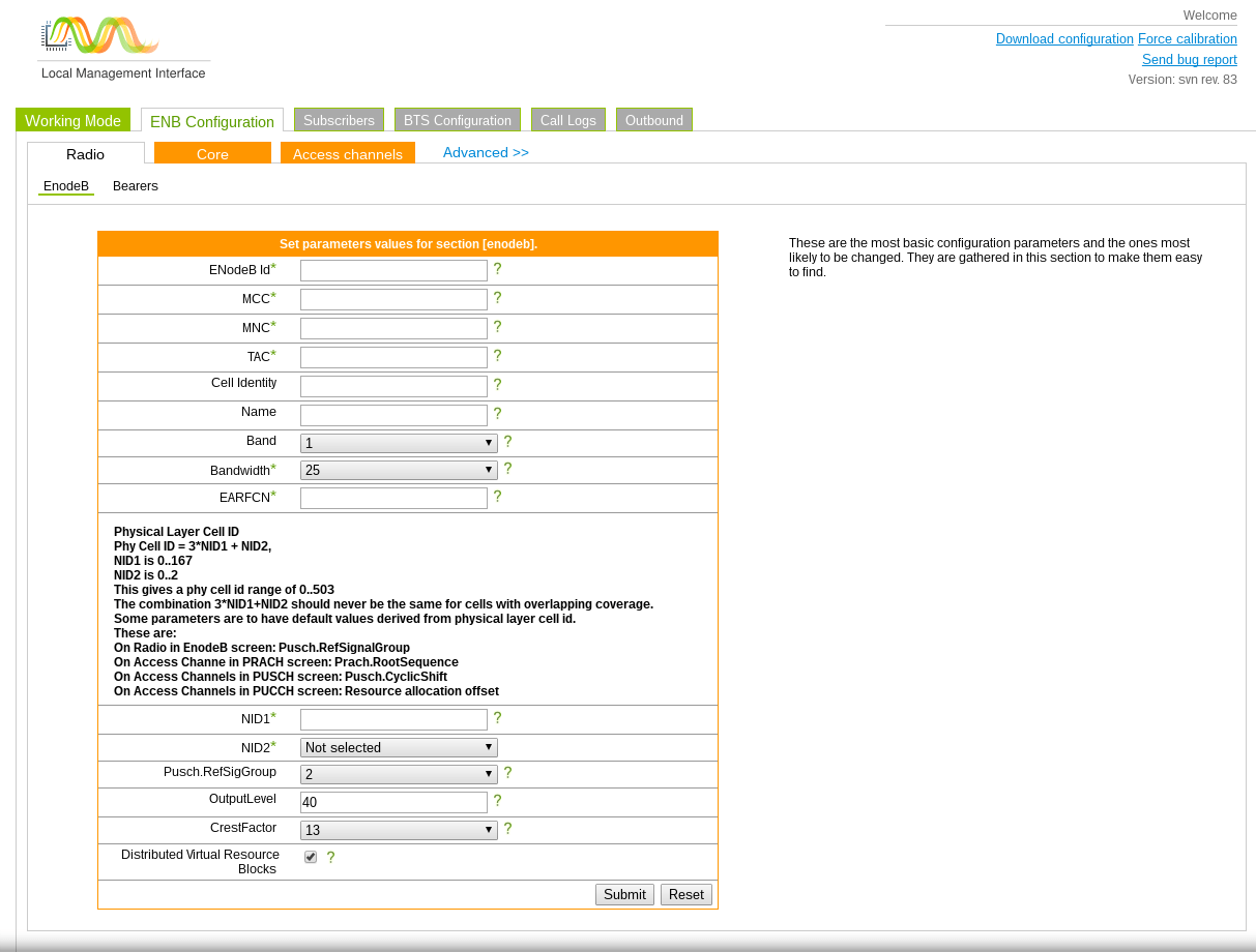 eNodeB configuration