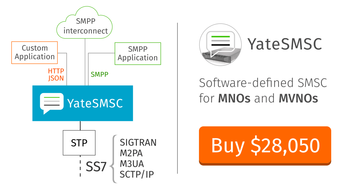 SMSC solutions for MNOs and MVNOs - software-defined,, buy now at $28,050