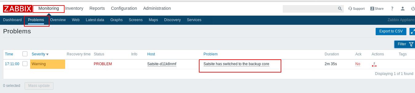 SatSite eNodeB Core Backup feature in Zabbix
