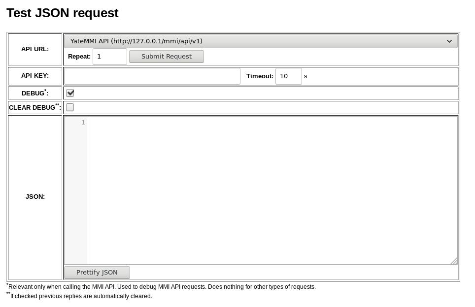 'Test API' tool