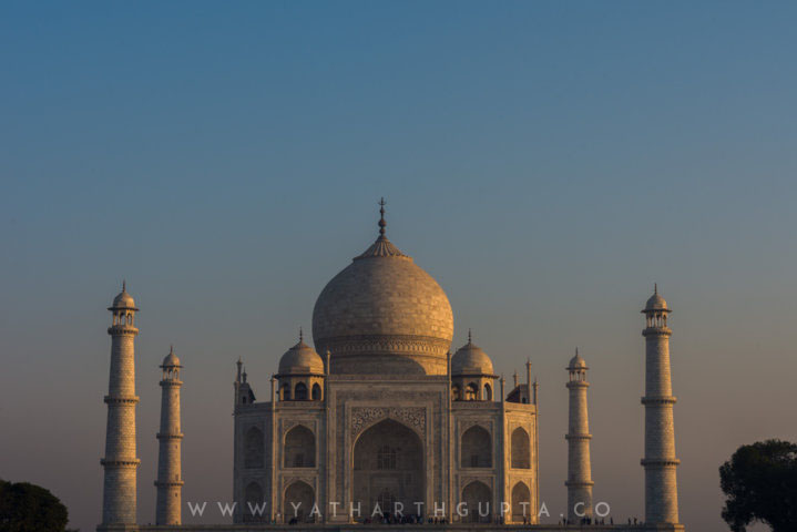 Morning Light at Taj Mahal, Golden Glow On White Marble