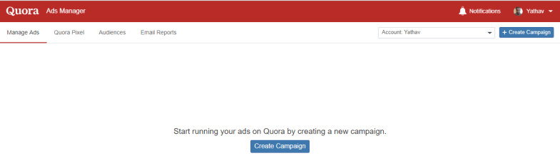 Quora campaign creation