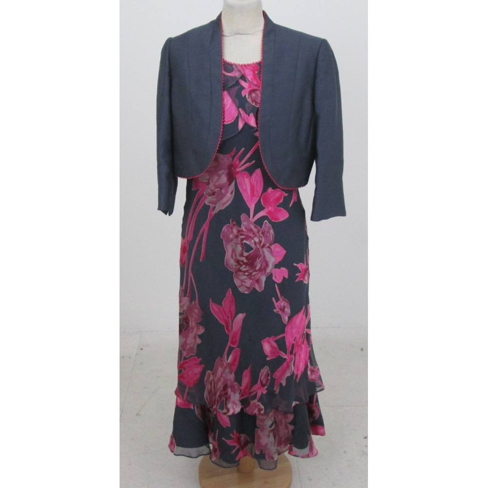 e25899cbf5 Jacques Vert Size 10 Grey And Cerise Dress And Bolero Style Jacket For Sale  In Milton Keynes London Preloved
