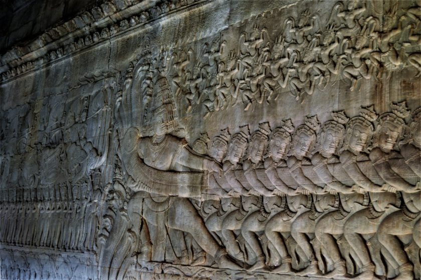 A section of the Samudra Manthana bas-relief depicting Ravana and the asuras churning the ocean