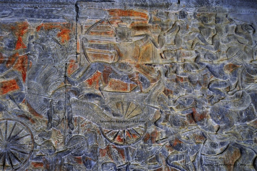 Varuna Riding Makara depicted in the Gods Vs. Asuras bas-relief carved in the lower-level gallery of the Angkor Wat Temple in Siem Reap, Cambodia