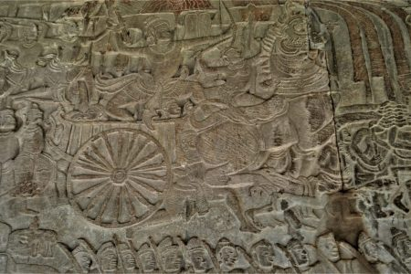 A section of the Gods Vs. Asuras bas-relief depicting an asura commander on a chariot fighting the gods
