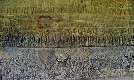 Three tiers of the Heavens and Hells bas-relief carved on the eastern section of the south gallery