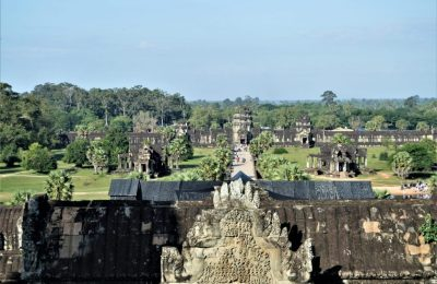 A view of the outer entrance from the top-most level of Angkor Wat Temple