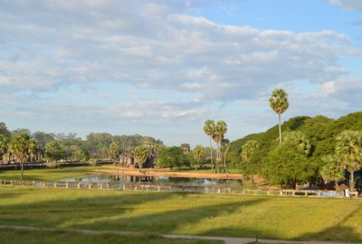 North side pond on the outer enclosure of Angkor Wat in Siem Reap, Cambodia