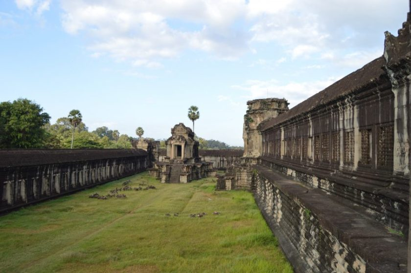 The south library building on the courtyard of the Angkor Wat Temple
