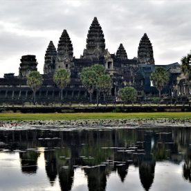 A view of the Angkor Wat Temple at sunrise