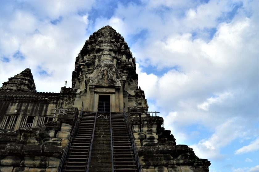 The southeast corner tower on the uppermost terrace of the Angkor Wat Temple in Siem Reap, Cambodia