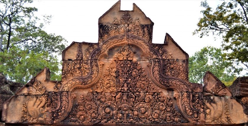Indra riding Airavata carved on the pediment of the gopura located at the entrance of Banteay Srei