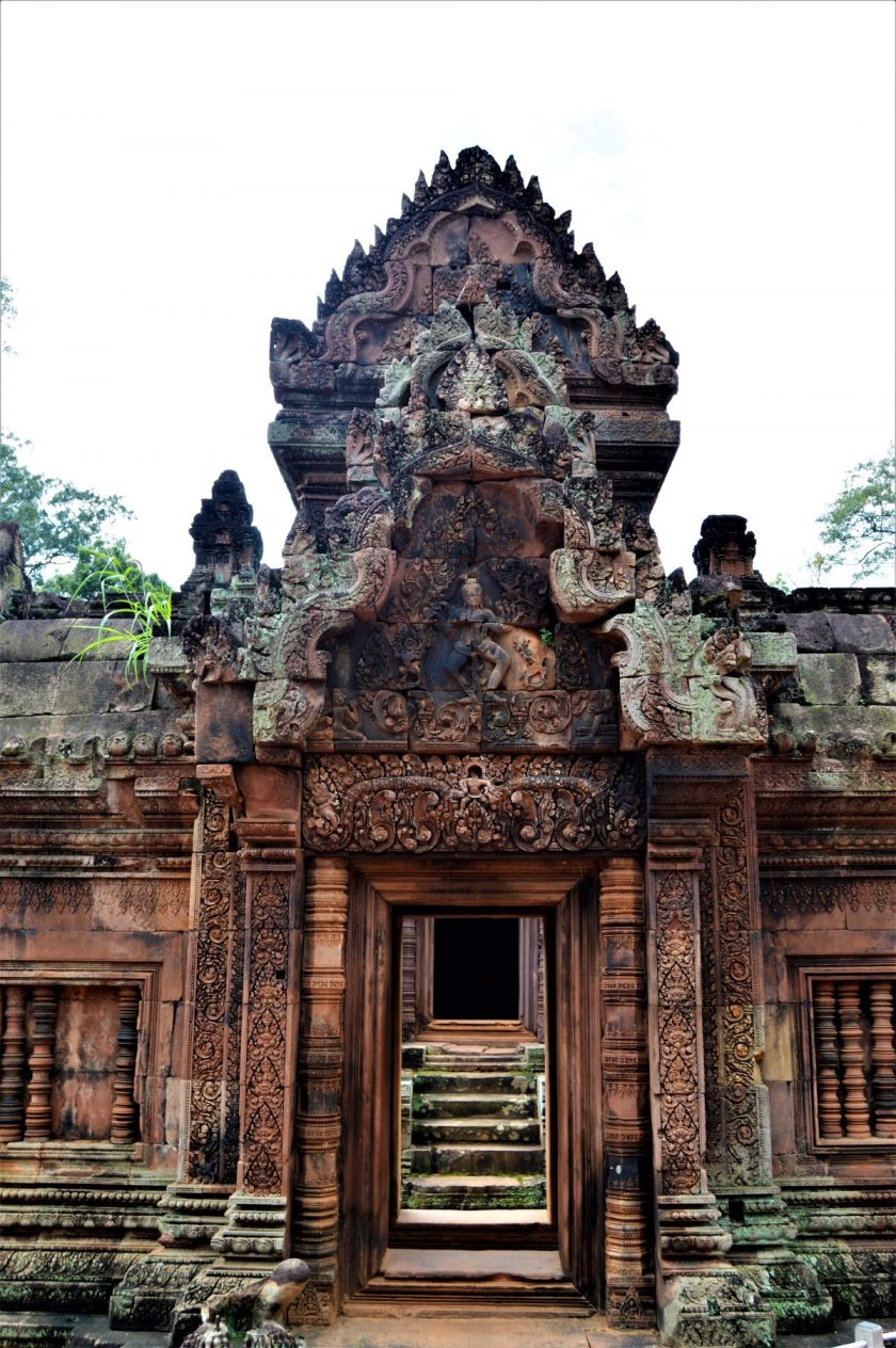 """""""Shiva Tandava Nritya"""" depicted on the east-facing pediment of the eastern gopura of the innermost enclosure of the Banteay Srei temple"""