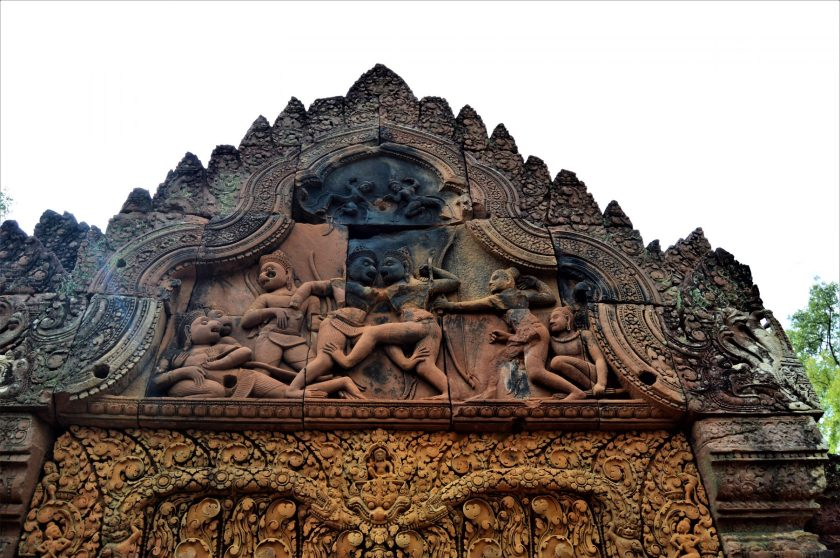 Vali - Sugriva fight depicted on the west side gopura of the middle enclosure of the Banteay Srei Temple, Cambodia