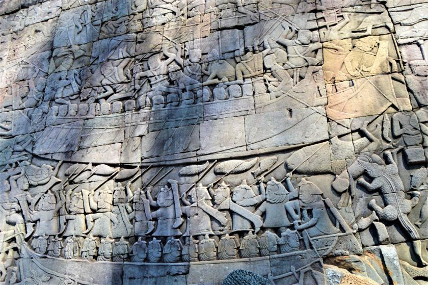 A section of the bas-relief on the lower level gallery of the Bayon Temple depicting the Khmer vs. Cham naval battle