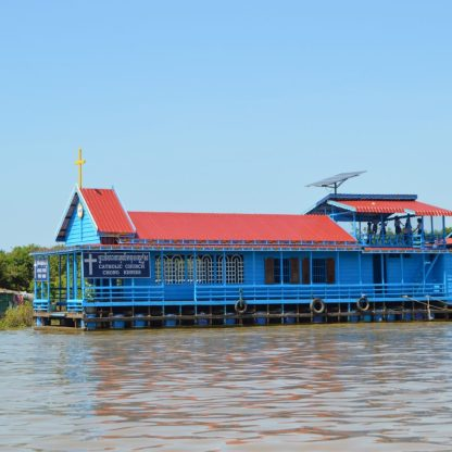 A Floating Catholic Church on the Tonlé Sap Lake in Cambodia