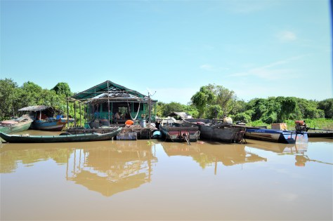 A Floating House in Tonle Sap Lake, Cambodia