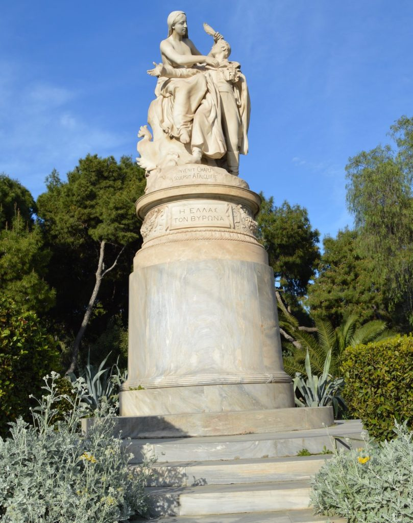 Monument to Lord Byron at the National Gardens, Athens, Greece