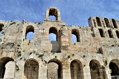 Facade of Odeon of Herodes Atticus in Athens, Greece