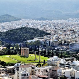 A view of Athens from Acropolis showing the Hadrian's Arch and Temple of Olympian Zeus