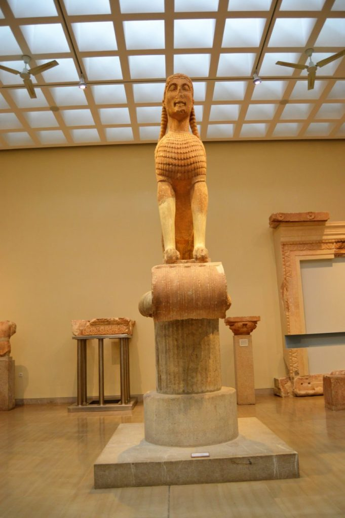 Naxian Sphinx on display at the Delphi Archaeological Museum