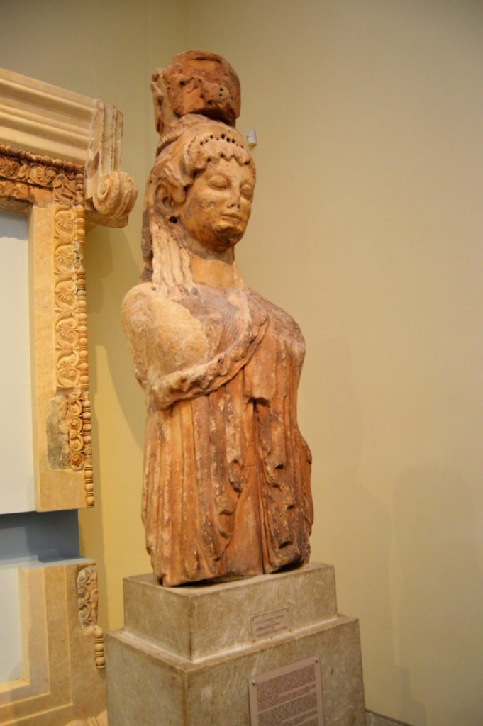 Siphnian Treasury caryatid on display at the Delphi Archaeological Museum in Delphi, Greece