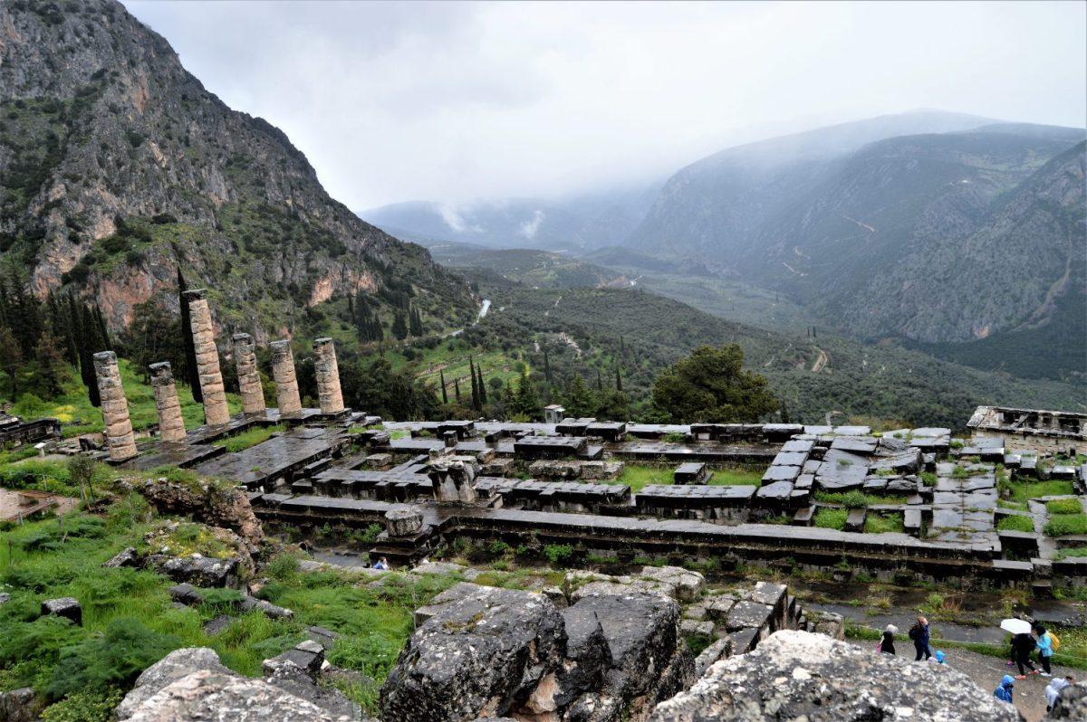 Ruins of Temple of Apollo in Delphi, Greece