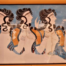 Ladies in Blue fresco on display at the Knossos Palace in Crete, Greece