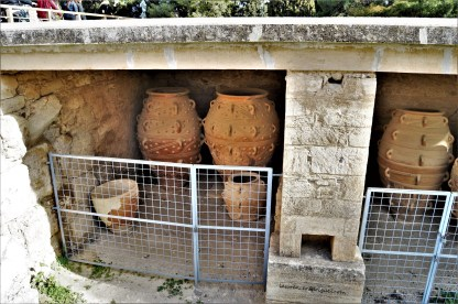 """Jars at """"The Magazines of the Great Pithoi"""" at the Knossos Palace in Crete, Greece"""