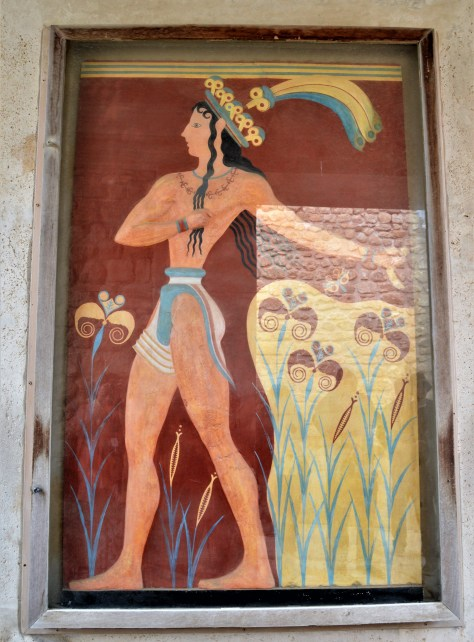 Prince of the Lilies fresco displayed at the Palace of Knossos,