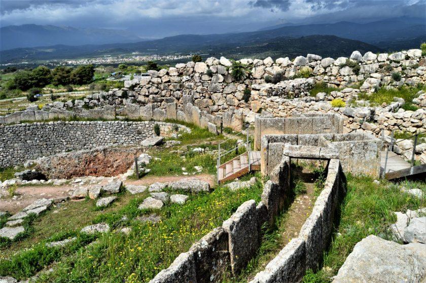 Grave Circle in Mycenae Citadel in Greece