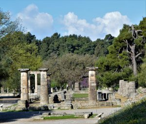 Ruins of the Temple of Hera in Olympia, Greece